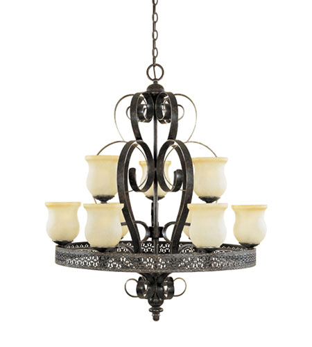 Designers Fountain Trevi 9 Light Chandelier in Burnt Umber with Silver Highli 80689-BUS