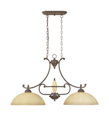 Designers Fountain Salerno 2 Light Island Pendant in Ancient Oak 81038-AO photo