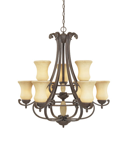 Designers Fountain Salerno 9 Light Chandelier in Ancient Oak 81089-AO photo