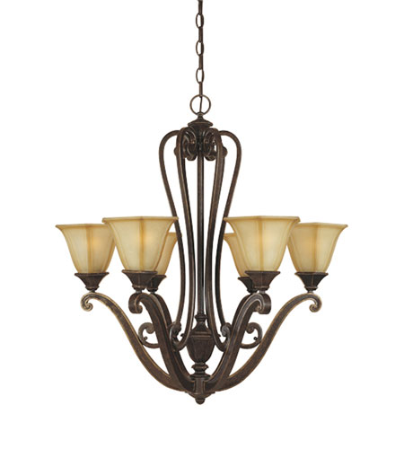 Designers Fountain Olympia 6 Light Chandelier in Imperial Walnut 81186-IW photo