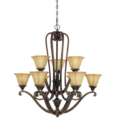 Designers Fountain Olympia 9 Light Chandelier in Imperial Walnut 81189-IW photo