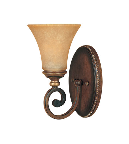 Designers Fountain Montreaux 1 Light Wall Sconce in Burnished Walnut with gold acc 81501-BWG photo