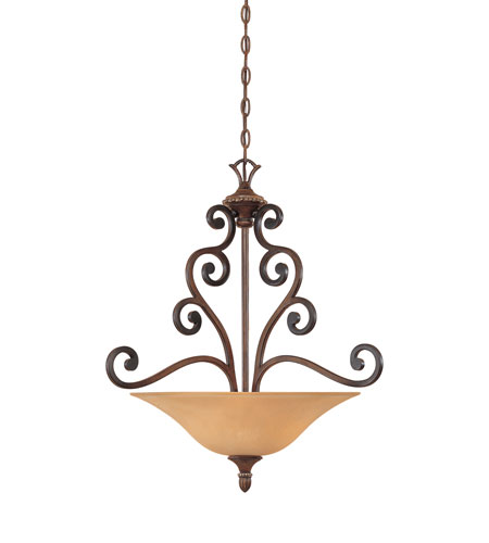 Designers Fountain Montreaux 3 Light Pendant in Burnished Walnut with gold acc 81531-BWG photo
