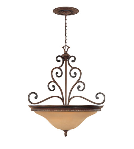 Designers Fountain Montreaux 3 Light Pendant in Burnished Walnut with gold acc 81533-BWG photo