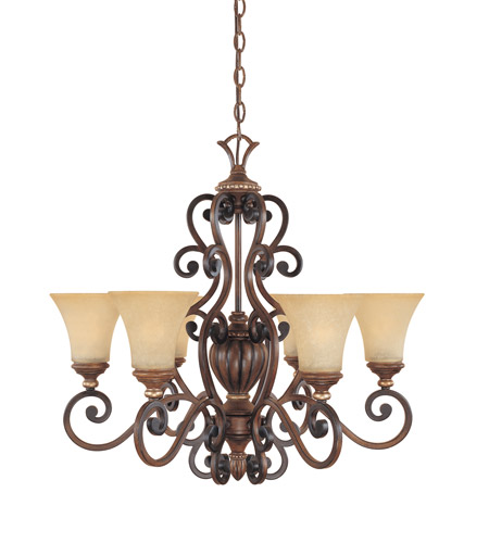 Designers Fountain Montreaux 6 Light Chandelier in Burnished Walnut w/Gold 81586-BWG photo