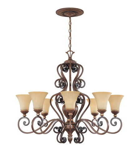Designers Fountain Montreaux 8 Light Chandelier in Burnished Walnut w/Gold 81588-BWG photo