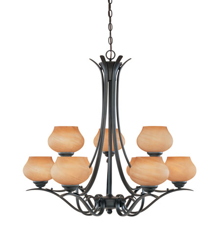 Designers Fountain Moon Shadow 9 Light Chandelier in Burnished Bronze 82089-BNB photo