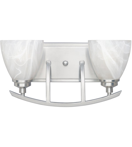 Designers Fountain 82902-SP Tackwood 2 Light 16 inch Satin Platinum Bath Bar Wall Light in Alabaster photo