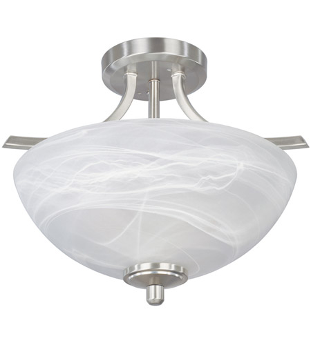 Designers Fountain 82911-SP Tackwood 2 Light 15 inch Satin Platinum Semi-Flush Ceiling Light in Alabaster photo