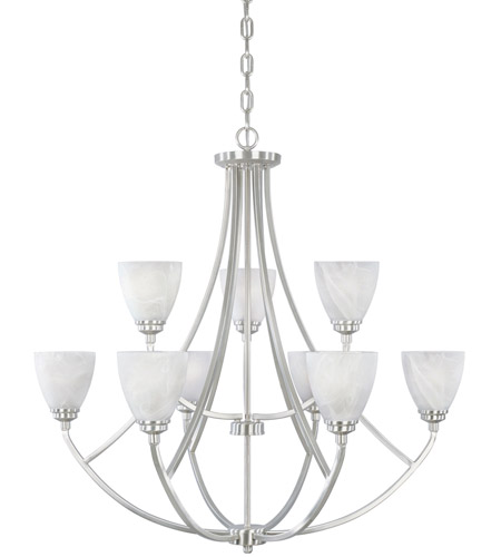 Designers Fountain 82989-SP Tackwood 9 Light 35 inch Satin Platinum Chandelier Ceiling Light in Alabaster photo