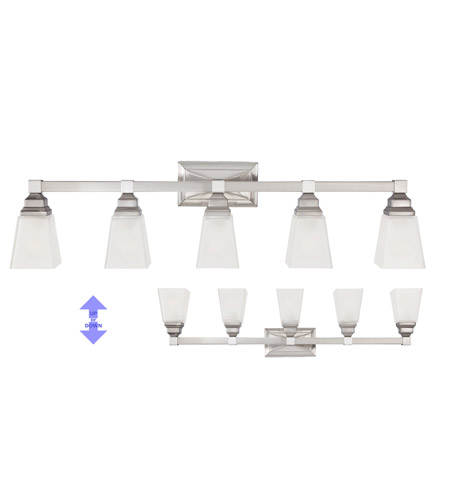 Designers Fountain 84905-SN Trenton 5 Light 38 inch Satin Nickel Bath Bar Wall Light