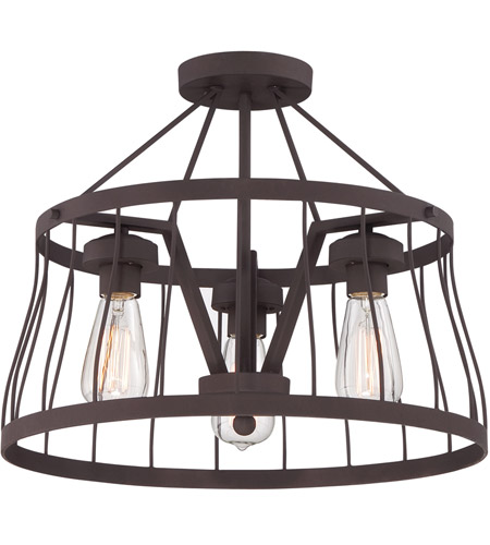Designers Fountain 86811 Bz Brooklyn 3 Light 120 Bronze Semi Flush Ceiling Convertible To Pendant