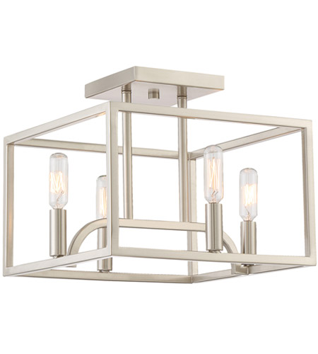 designers fountain 88411sp uptown 4 light satin platinum semiflush ceiling light
