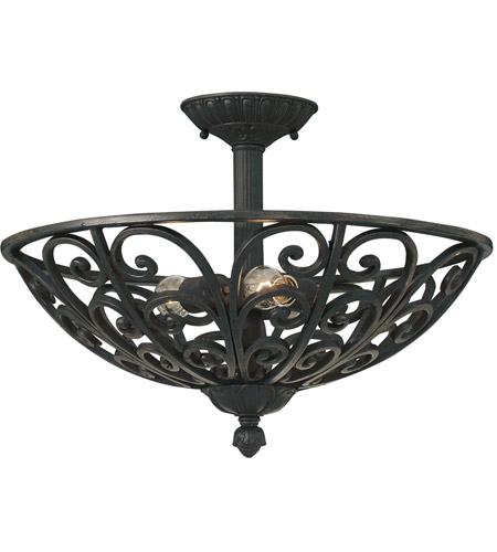 Designers Fountain 9192-NI Alhambra 3 Light 120 Natural Iron Semi-Flush Ceiling Light  photo