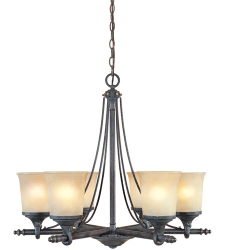 Designers Fountain 97386-WSD Austin 6 Light 27 inch Weathered Saddle Chandelier Ceiling Light photo