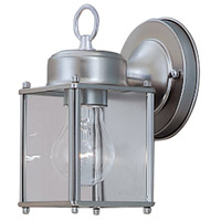 Basic 1 Light 8 inch Pewter Outdoor Wall Lantern