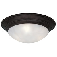 Lunar 2 Light 14 inch Oil Rubbed Bronze Flushmount Ceiling Light in White Alabaster