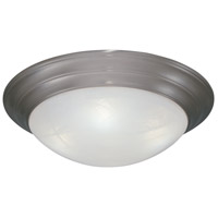 Lunar 2 Light 14 inch Pewter Flushmount Ceiling Light in White Alabaster