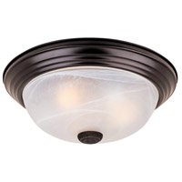 Signature 3 Light 15 inch Oil Rubbed Bronze Flushmount Ceiling Light in White Alabaster