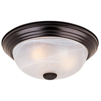 Decorative 2 Light 13 inch Oil Rubbed Bronze Flushmount Ceiling Light in White Alabaster