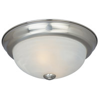 Decorative 2 Light 13 inch Satin Platinum Flushmount Ceiling Light in White Alabaster