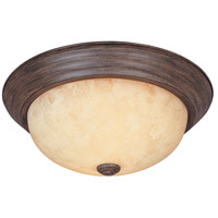 Decorative 2 Light 13 inch Warm Mahogany Flushmount Ceiling Light in Amber