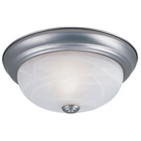 Decorative 2 Light 11 inch Pewter Flushmount Ceiling Light in White Alabaster