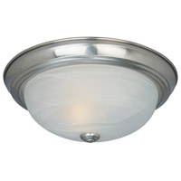 Decorative 2 Light 11 inch Satin Platinum Flushmount Ceiling Light in White Alabaster