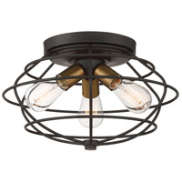 Jax 3 Light 15 inch Vintage Bronze Flush Mount Ceiling Light
