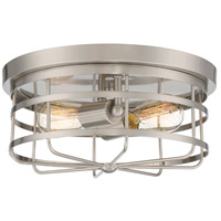 Tanner 2 Light 13 inch Satin Platinum Flush Mount Ceiling Light
