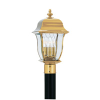Gladiator 3 Light 19 inch Polished Brass Outdoor Post Lantern