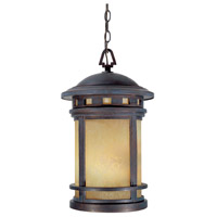 Sedona 3 Light 11 inch Mediterranean Patina Outdoor Hanging Lantern in Amber