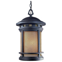 Sedona 3 Light 11 inch Oil Rubbed Bronze Outdoor Hanging Lantern in Amber