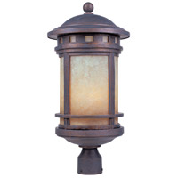 Sedona 3 Light 23 inch Mediterranean Patina Outdoor Post Lantern in Amber