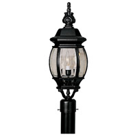 Riviera 3 Light 22 inch Black Post Lantern