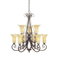 Designers Fountain Melia 9 Light Chandelier in Warm Mahogany 80989-WM
