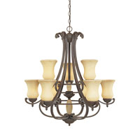 Designers Fountain Salerno 9 Light Chandelier in Ancient Oak 81089-AO