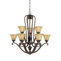 Designers Fountain Olympia 9 Light Chandelier in Imperial Walnut 81189-IW photo thumbnail