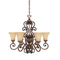 Designers Fountain Montreaux 6 Light Chandelier in Burnished Walnut w/Gold 81586-BWG