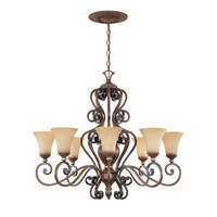 Designers Fountain Montreaux 8 Light Chandelier in Burnished Walnut w/Gold 81588-BWG