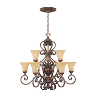 Designers Fountain Montreaux 9 Light Chandelier in Burnished Walnut w/Gold 81589-BWG