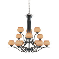 Designers Fountain Moon Shadow 12 Light Chandelier in Burnished Bronze 820812-BNB