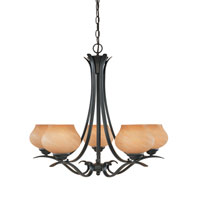 Designers Fountain Moon Shadow 5 Light Chandelier in Burnished Bronze 82085-BNB