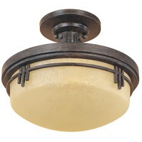Mission Ridge 2 Light 13 inch Warm Mahogany Semi-Flush Ceiling Light