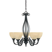 Del Amo 5 Light 26 inch Burnished Bronze Chandelier Ceiling Light