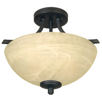 Tackwood 2 Light 120 Burnished Bronze Semi-Flush Ceiling Light in Tea Stained Alabaster