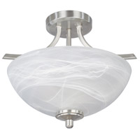 Tackwood 2 Light 120 Satin Platinum Semi-Flush Ceiling Light in Alabaster