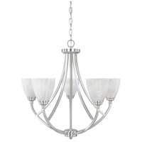 Tackwood 5 Light 27 inch Satin Platinum Chandelier Ceiling Light in Alabaster