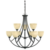 Tackwood 9 Light 35 inch Burnished Bronze Chandelier Ceiling Light in Tea Stained Alabaster
