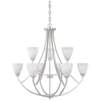 Designers Fountain 82989-SP Tackwood 9 Light 35 inch Satin Platinum Chandelier Ceiling Light in Alabaster photo thumbnail